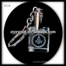 Chaveiro de cristal LED com imagem 3D gravado a laser dentro e em branco chaveiro de cristal G114