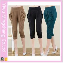 2016 Hot Sale Plus Size High Elestic Milk Silk 3/4 Harem Pants for 150kg Women