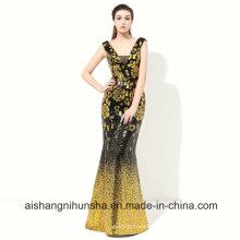 Robe de soirée en paillettes dorées Robe de soirée en mousseline de soie sirène