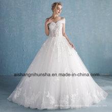 The Bride Romantic Lace Flower Removable Long Wedding Dresses