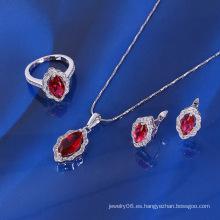 Joyería de rubí de lujo de moda de Xuping conjunto con rodio plateado (61092)