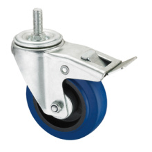 Middle Duty Series Caster - Threaded W / Brake - Blue Elastic Rubber (rolamento de rolamento)
