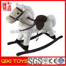 2014 hot selling plush wooden rocking horse toy