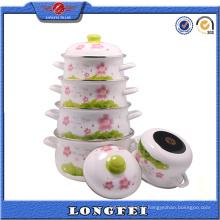 Yiwu en gros pleine fleur Decal émail en fonte Pot