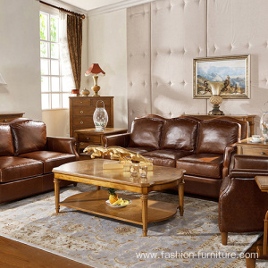 Genuine Leather Single Wooden Arm Sofa Chair