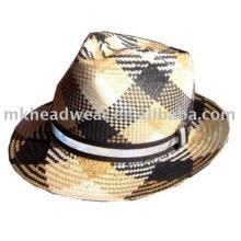 Бумажная соломенная шляпка с лентой