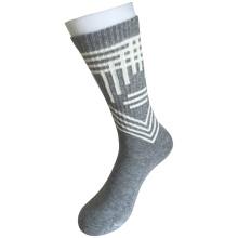 Mitad de cojín de algodón de moda logotipo de deporte calcetines grises (jcmc07)