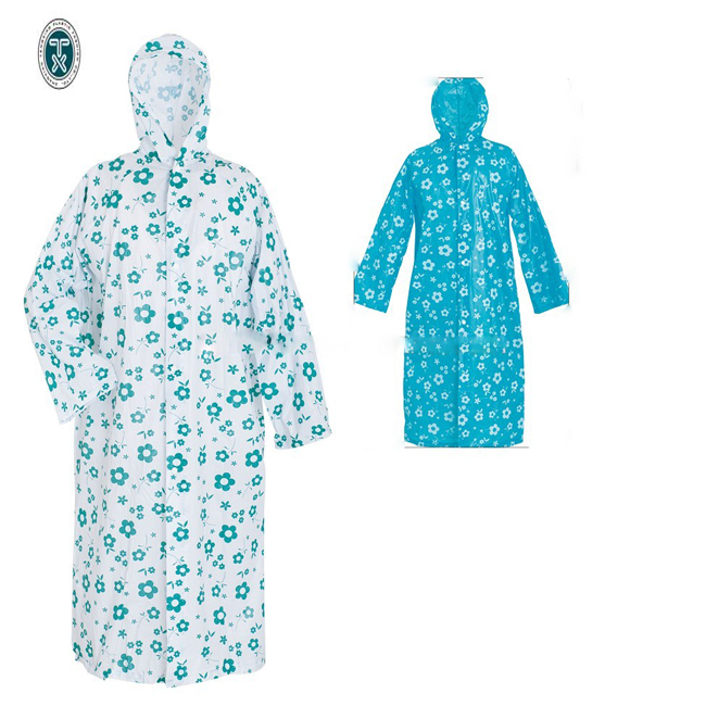 Pvc Long Raincoat with pattern