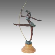 Dancer Figure Statue Pole Dance Bronze Sculpture TPE-595
