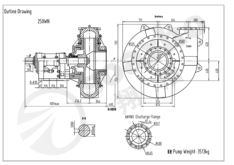 250mm Size Dredging Pump