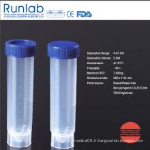 Tube à centrifuger autonome de 50 ml approuvé par la FDA et la CE avec graduation moulée dans un sac pelable