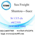 Shantou Port Sea Freight Shipping Para Suez