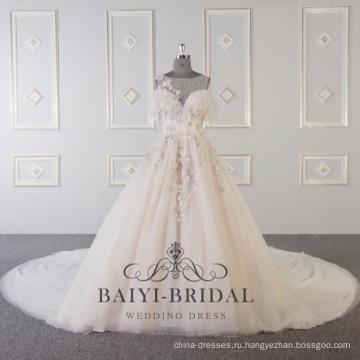 Сшитое кружева цветок розовый см через свадебные платья 2017 DY036