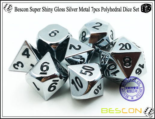 Bescon Super Shiny Gloss Silver Metal 7pcs Polyhedral Dice Set-5