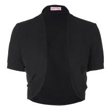 Belle Poque Dames à manches courtes en coton plissé Coton noir Shrug Boléro BP000215-1