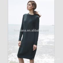 women's jacquard long cashmere dress