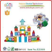 EZ1010 100pcs Colorful Printed DIY Toy Children Wooden Bricks for sale