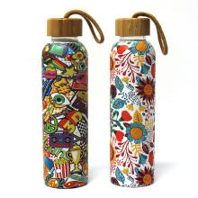 Glass Water Bottles with Multi-Color Neoprene Sleeves, 18 oz Capacity reusable bottles