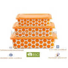 heißer Verkauf Platz Lebensmittel Lagerung mit Silikon Deckel, 3er Set, orange runden Punkt Design