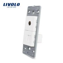 Livolo US TV и компьютер RJ 45 Розетка без белого жемчуга Хрустальное стекло Интернет электрическая розетка VL-C5-1VC-11