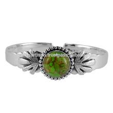 Зеленый Меди Бирюзовый Драгоценных Камней 925 Серебряный Браслет