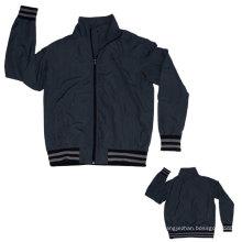 Yj-3004 Dark Grey Black Microfiber Sports Sporty Sport Jacket for Men