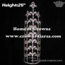 25in Height Large Custom Fleur De Lis Pageant Crowns