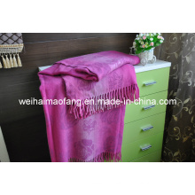 Woven Woolen Fringed Wool Throw (NMQ-WT041)