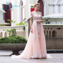 A Line Tulle Short Sleeve Wedding Dress Bridal Gown, Pink Wedding Dress