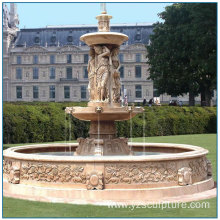 Hand carving travertine outdoor water fountains