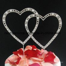 Liebesrhinestone-Herz-Hochzeits-Kuchen-Deckel für Kuchen-Dekoration