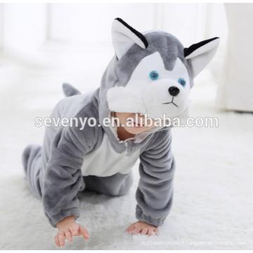 Bébé doux flanelle barboteuse Animal Onesie pyjamas tenues costume, vêtements de couchage, tissu gris mignon, serviette à capuchon de bébé