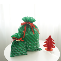 Green Strip Large Xmas Drawstring Gift Bags ideas