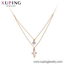 44159 Xuping collar de cadena chapado en oro de joyería, último diseño 18k collar de cruz de oro