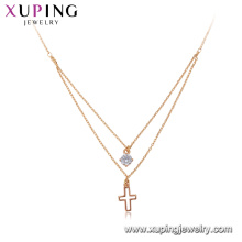 44159 Xuping jewelry gold plated chain necklace, latest design 18k gold cross necklace