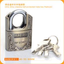 Europe Market Good Quality Zinc Alloy Shackle Half Protected Vane Key Padlock