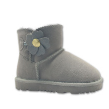 Girls Gray Ankle High Boots With Flower Buttons