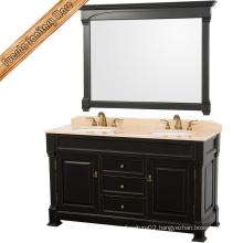 Classic Dark Solid Wood Bathroom Cabinet Set Bathroom Vanity