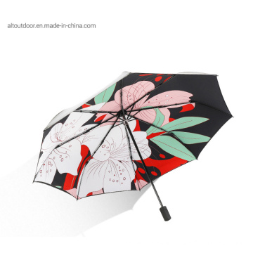3 Fold Automatic Open and Close with Printing Umbrella