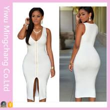 2016 dernière vente en gros Zipper Front Femme Sexy Plain Bodycon Dress