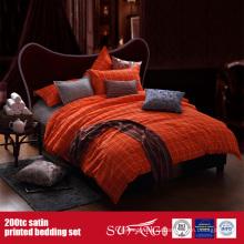 100%хлопок 200TC Сатин набивной Комплект постельного белья мотель постельное белье поставщики