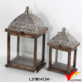 Antique Vintage Rectangle Decorative Wooden Candle Lantern