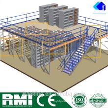 Estante de plataforma de almacenamiento ajustable mental Soporte de piso de entresuelo de acero