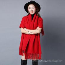 Moda feminina Viscose Nylon Malha Fringe Inverno Xaile (YKY4529)