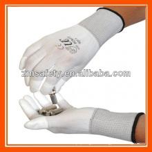 Delicate Work PU Finger Tip Coating White Nylon Inspection Gloves