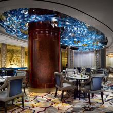 Indoor Designer Modern Chandelier Round Shape Hand Blown Glass Metal Ceiling Chandelier Lighting