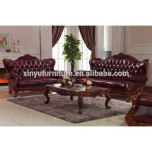 Sofá antigo estilo americano 1 + 2 + 3 com mesa de café A691