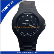 Relógio de pulso de quartzo de pulso unisex de relógio elegante de madeira