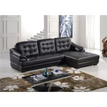 Black Color L Shape Chaise Longue Leather Sofa