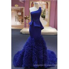 Royal Blue One Shoulder Satin Mermaid Evening Dress